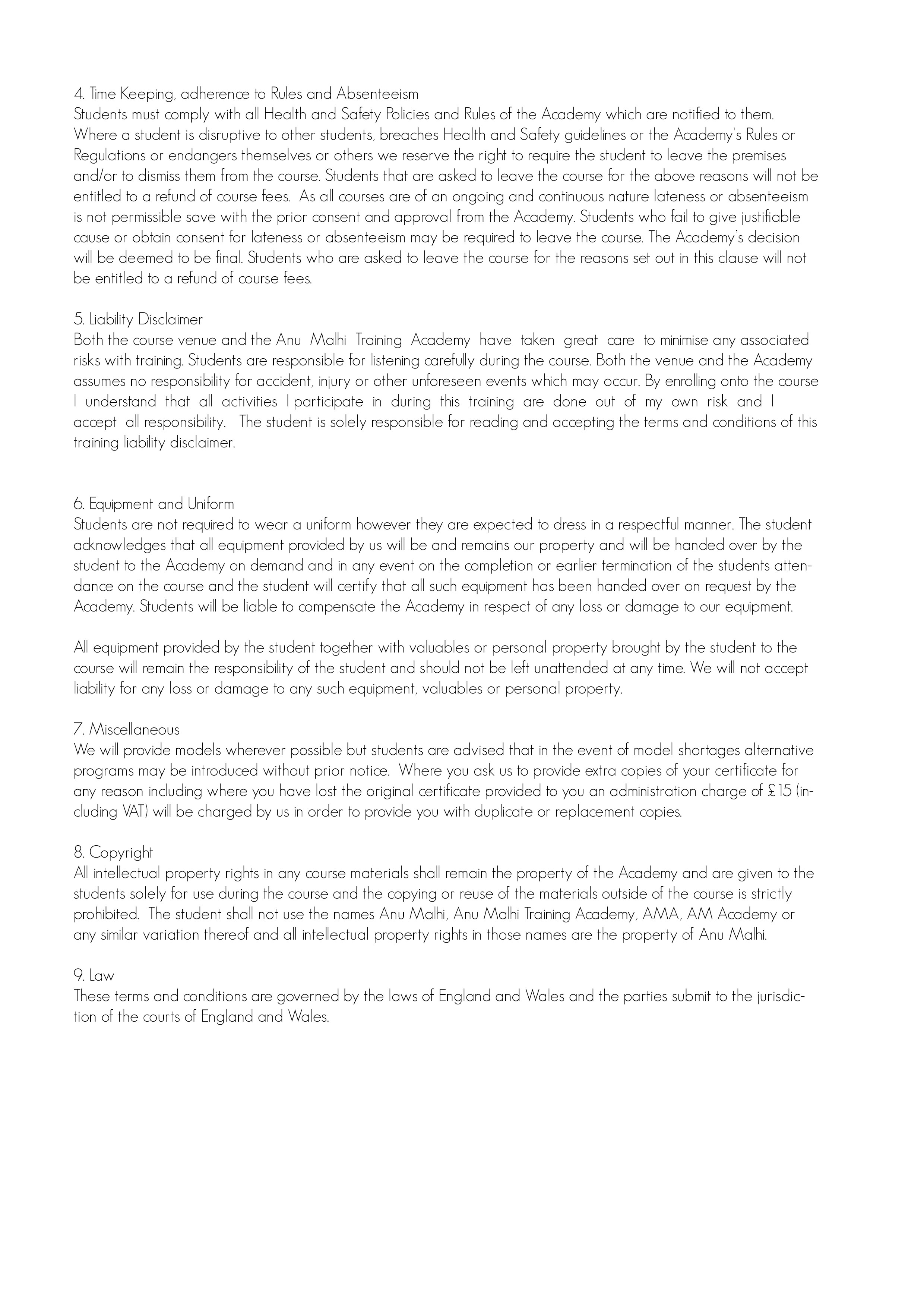 Terms & Conditions (page 2 of 2)