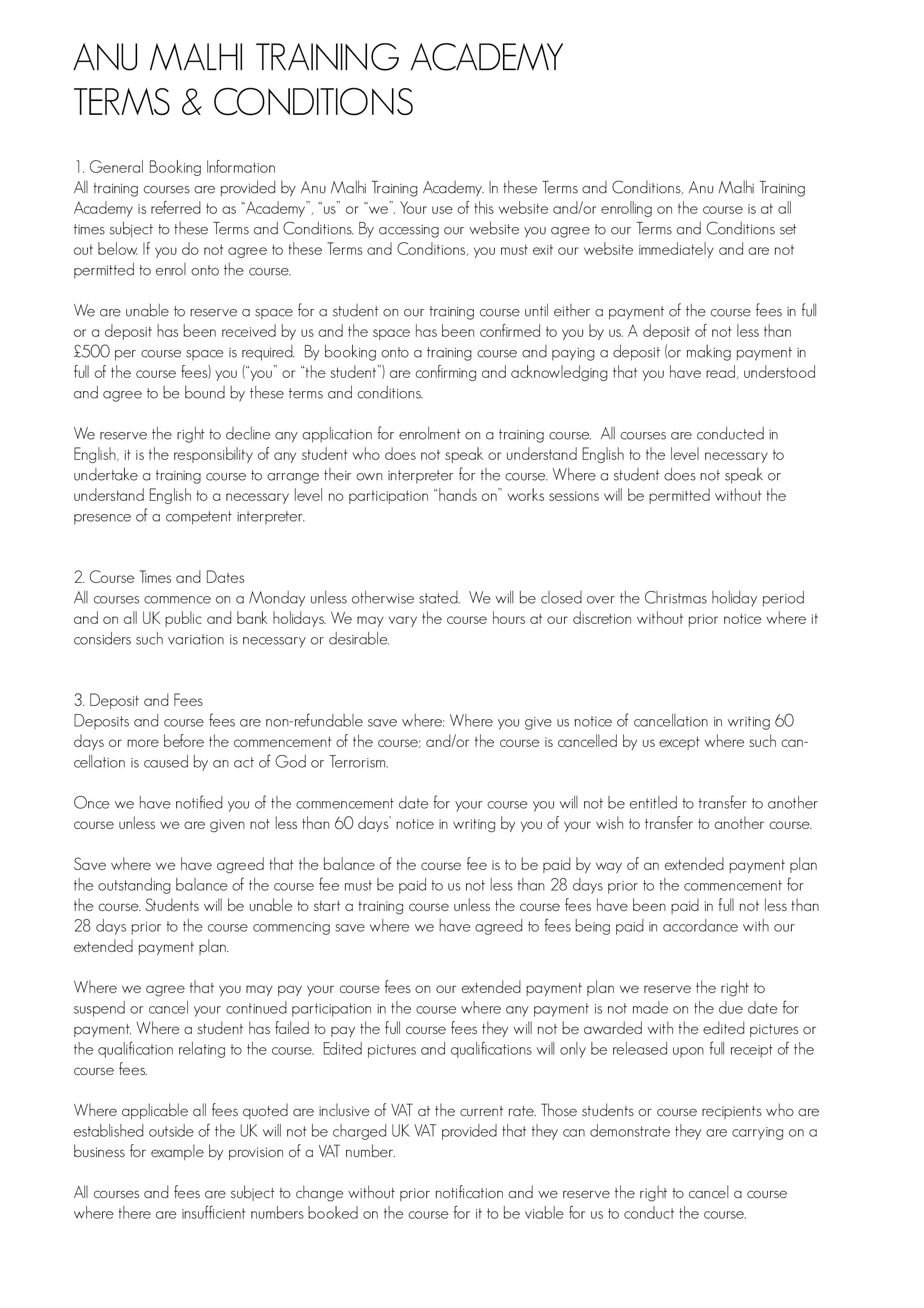 Terms & Conditions (page 1 of 2)